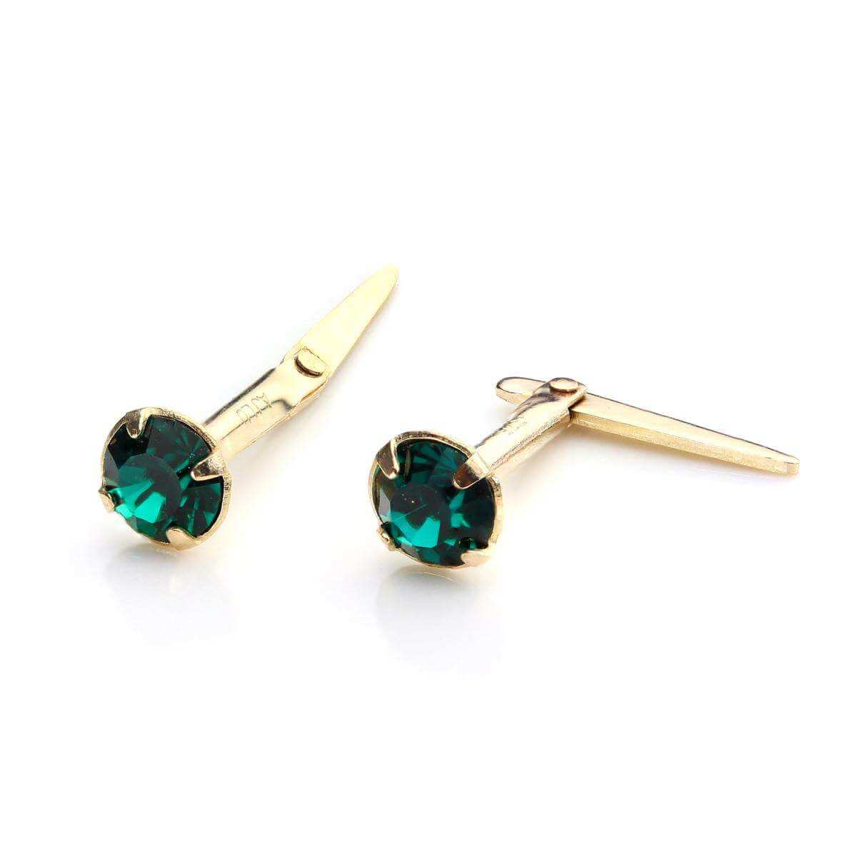 9ct Gold Andralok Stud Earrings with 3mm Emerald Crystal