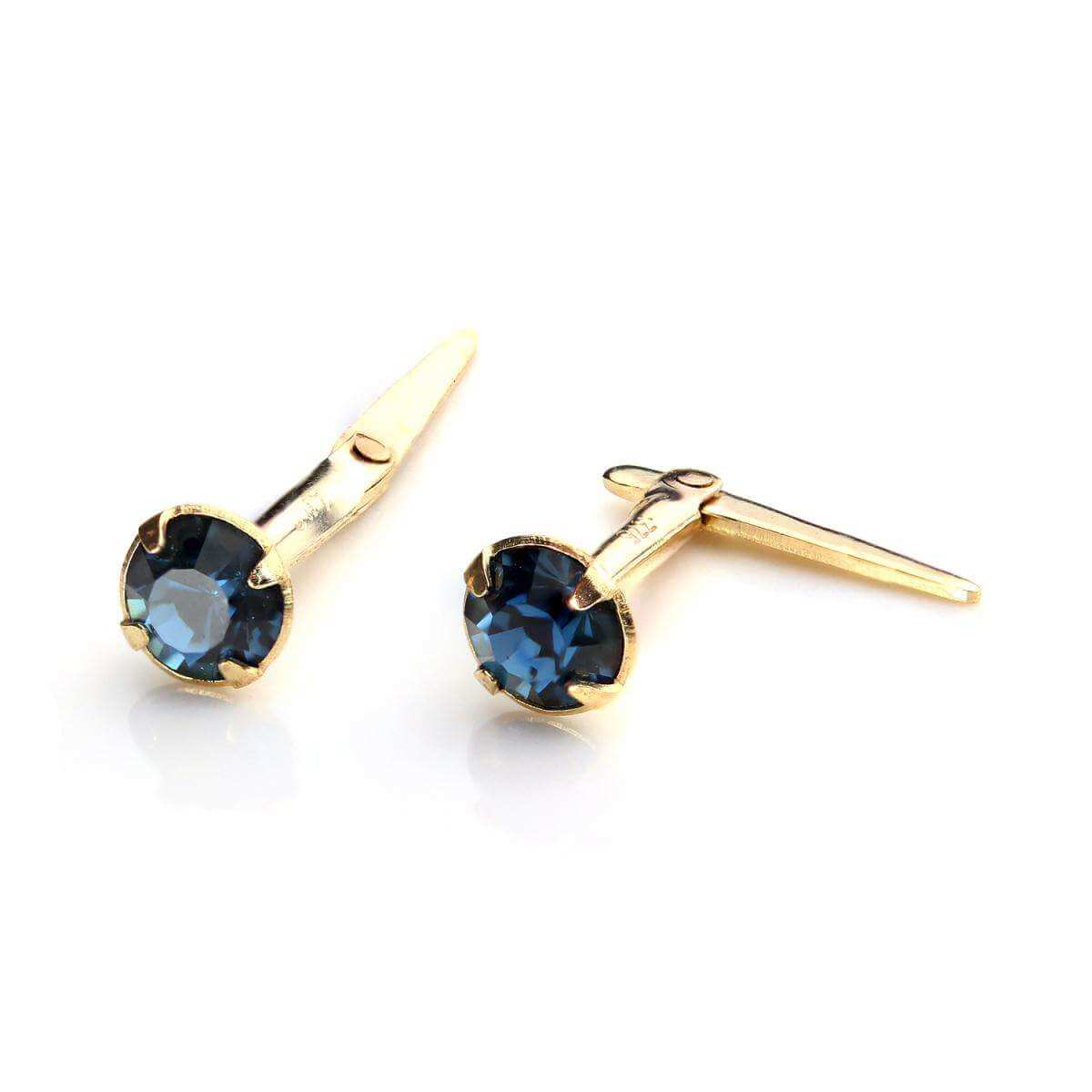9ct Gold Andralok Stud Earrings with 3mm Montana Crystal