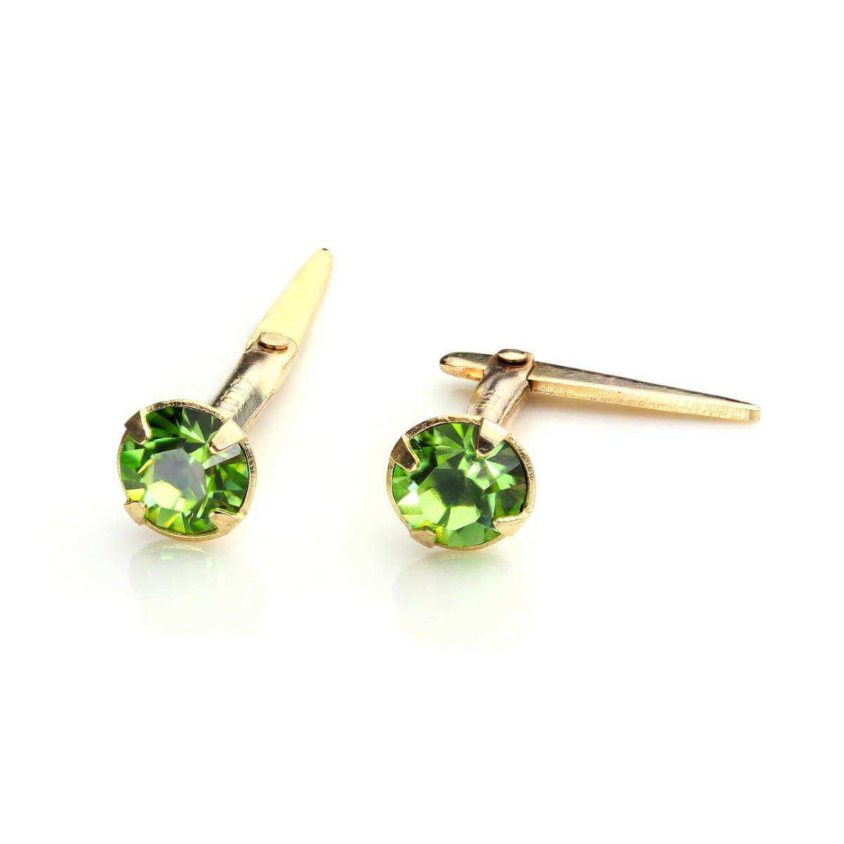 9ct Gold Andralok Stud Earrings with 3mm Peridot Crystal