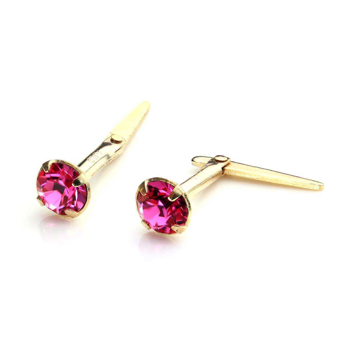 9ct Gold Andralok Stud Earrings with 3mm Rose Crystal