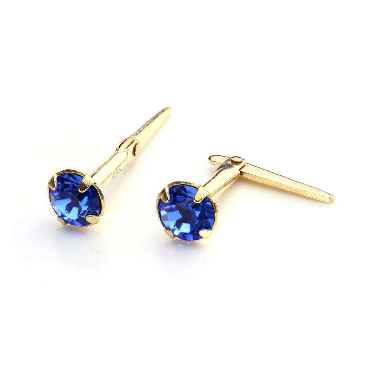 9ct Gold Andralok Stud Earrings with 3mm Sapphire Crystal