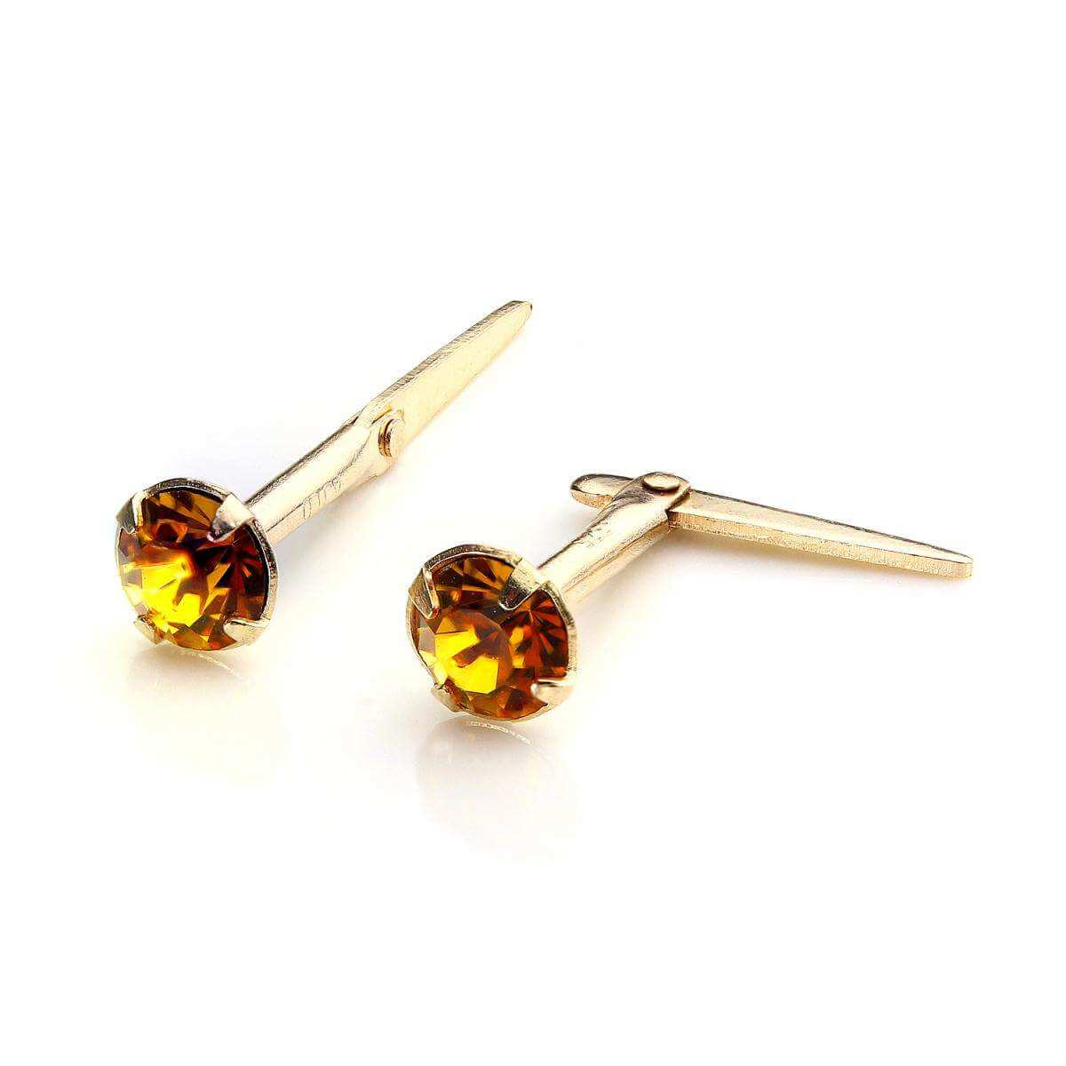 9ct Gold Andralok Stud Earrings with 3mm Topaz Crystal