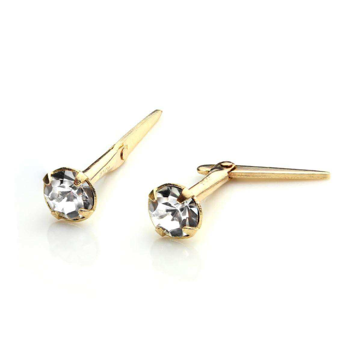 9ct Gold Andralok Stud Earrings with 3mm Clear Crystal