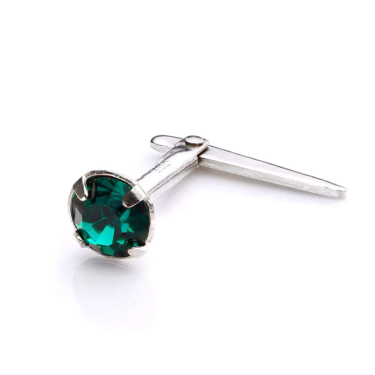 Sterling Silver Andralok Nose Stud with 3mm Emerald Crystal