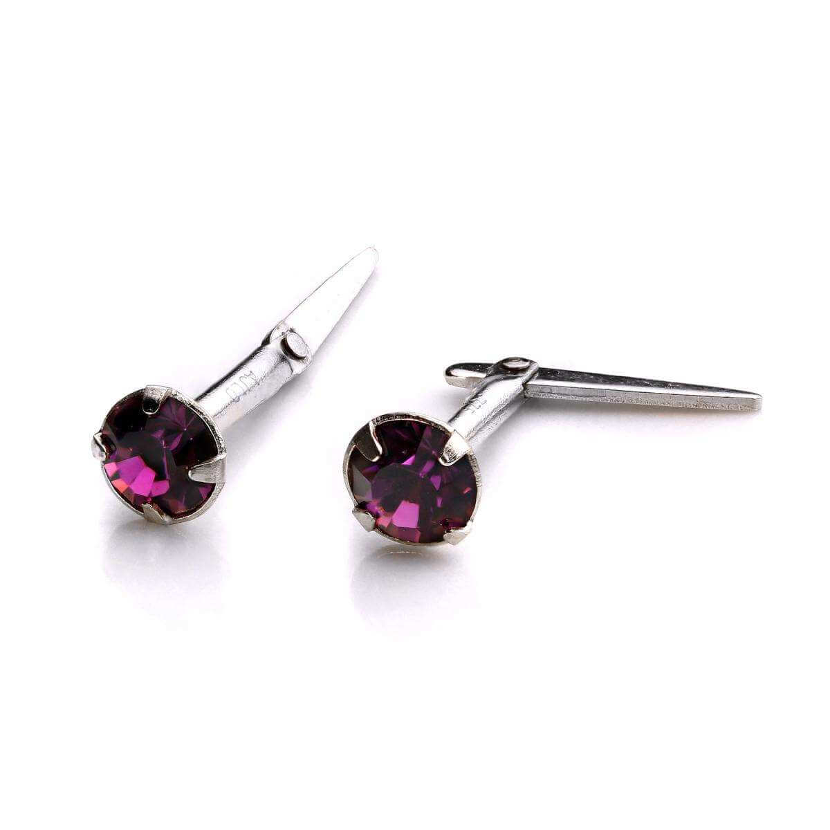 Sterling Silver Andralok Stud Earrings with 3mm Amethyst Crystal
