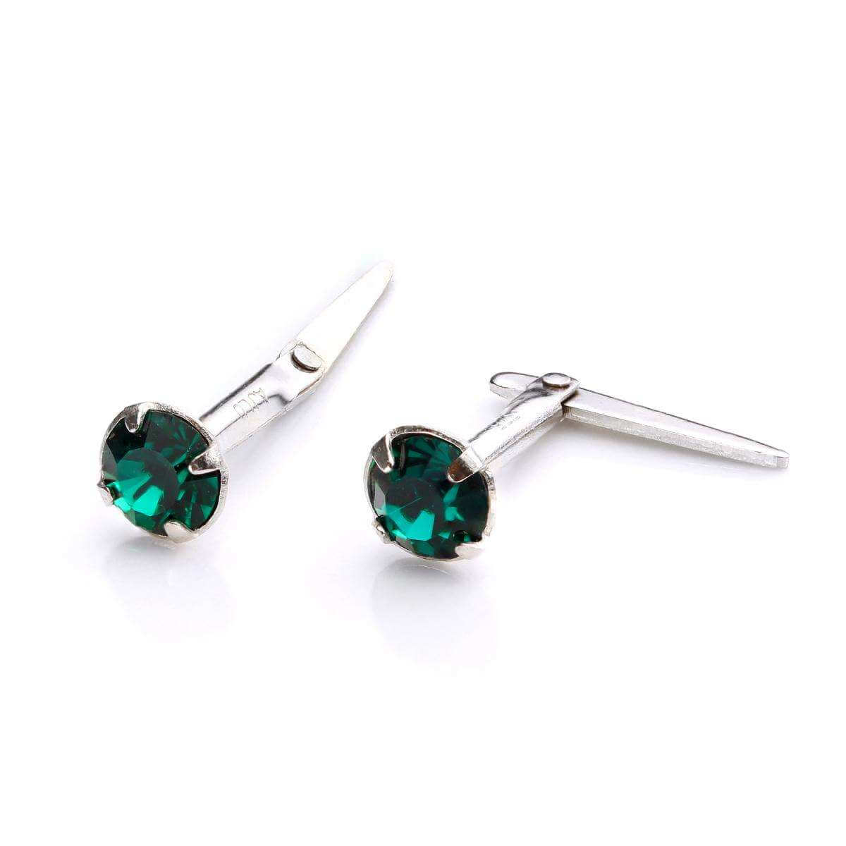 Sterling Silver Andralok Stud Earrings with 3mm Emerald Crystal