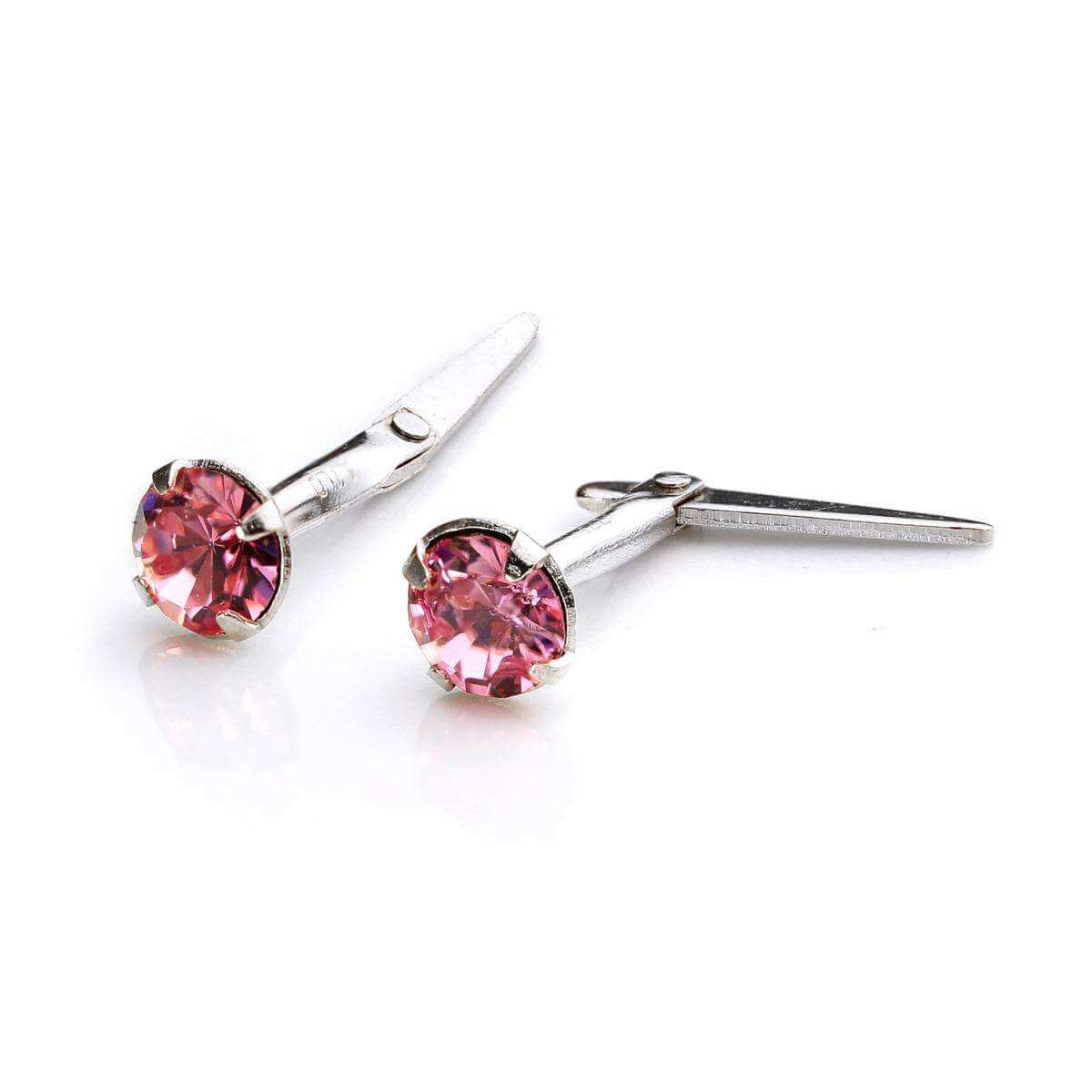 Sterling Silver Andralok Stud Earrings with 3mm Light Rose Crystal