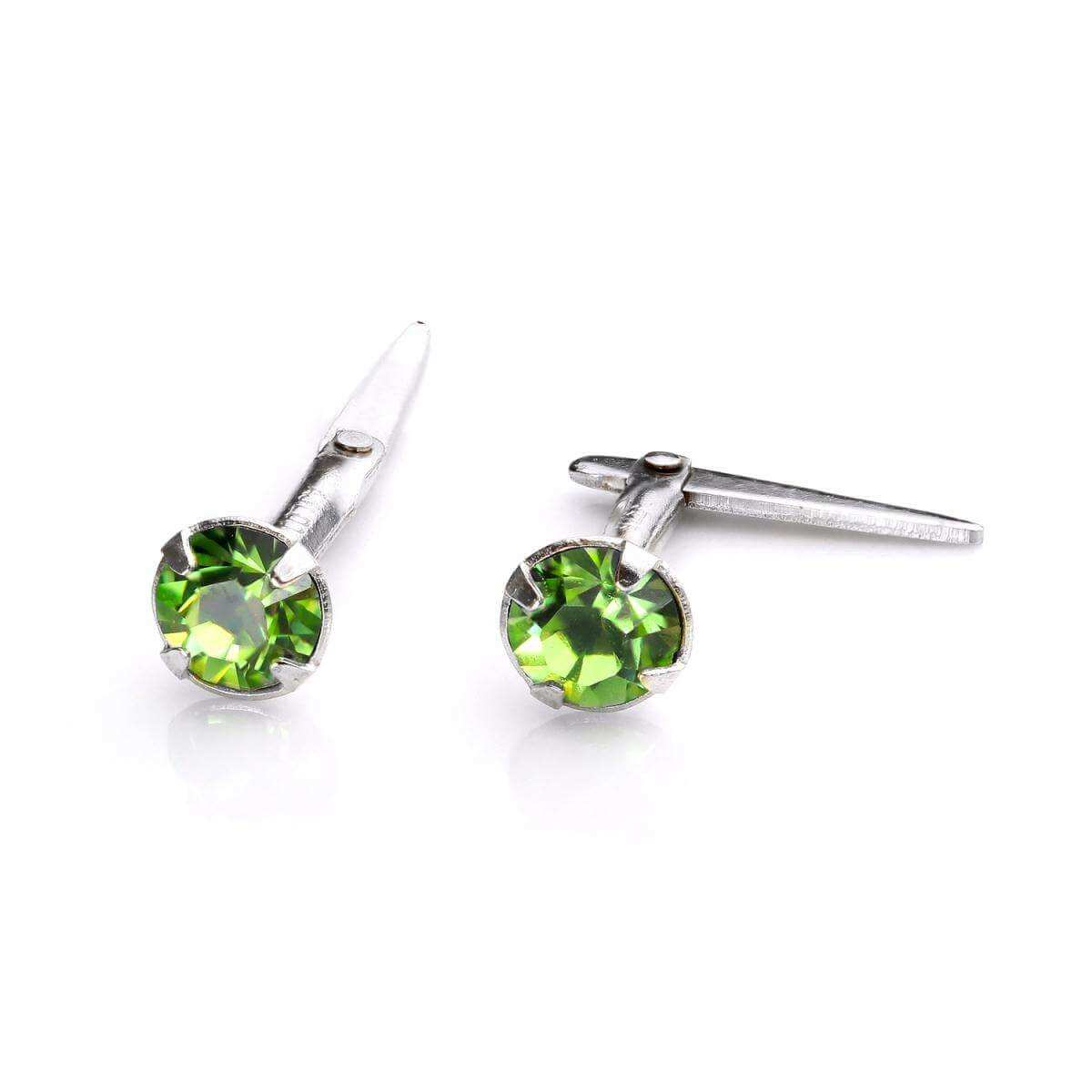 Sterling Silver Andralok Stud Earrings with 3mm Peridot Crystal