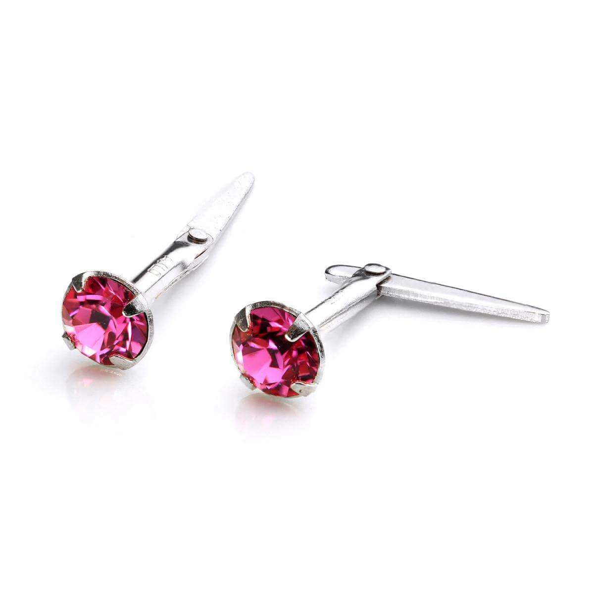 Sterling Silver Andralok Stud Earrings with 3mm Rose Crystal