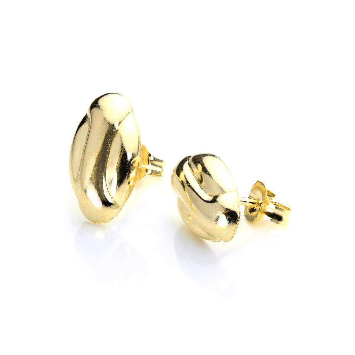 9ct Gold Coffee Bean Stud Earrings