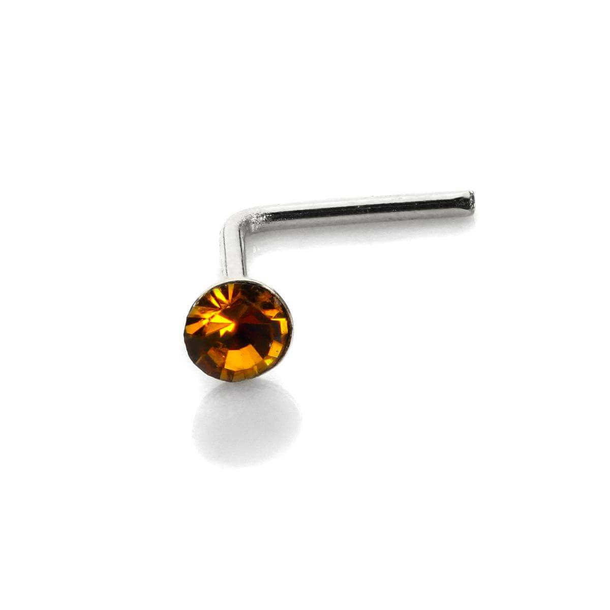 Sterling Silver 2.8mm Round Topaz Crystal Nose Stud L Pin