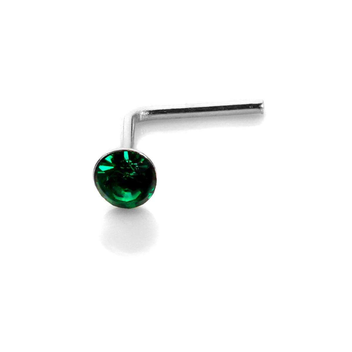 Sterling Silver 2.8mm Round Emerald Crystal Nose Stud L Pin
