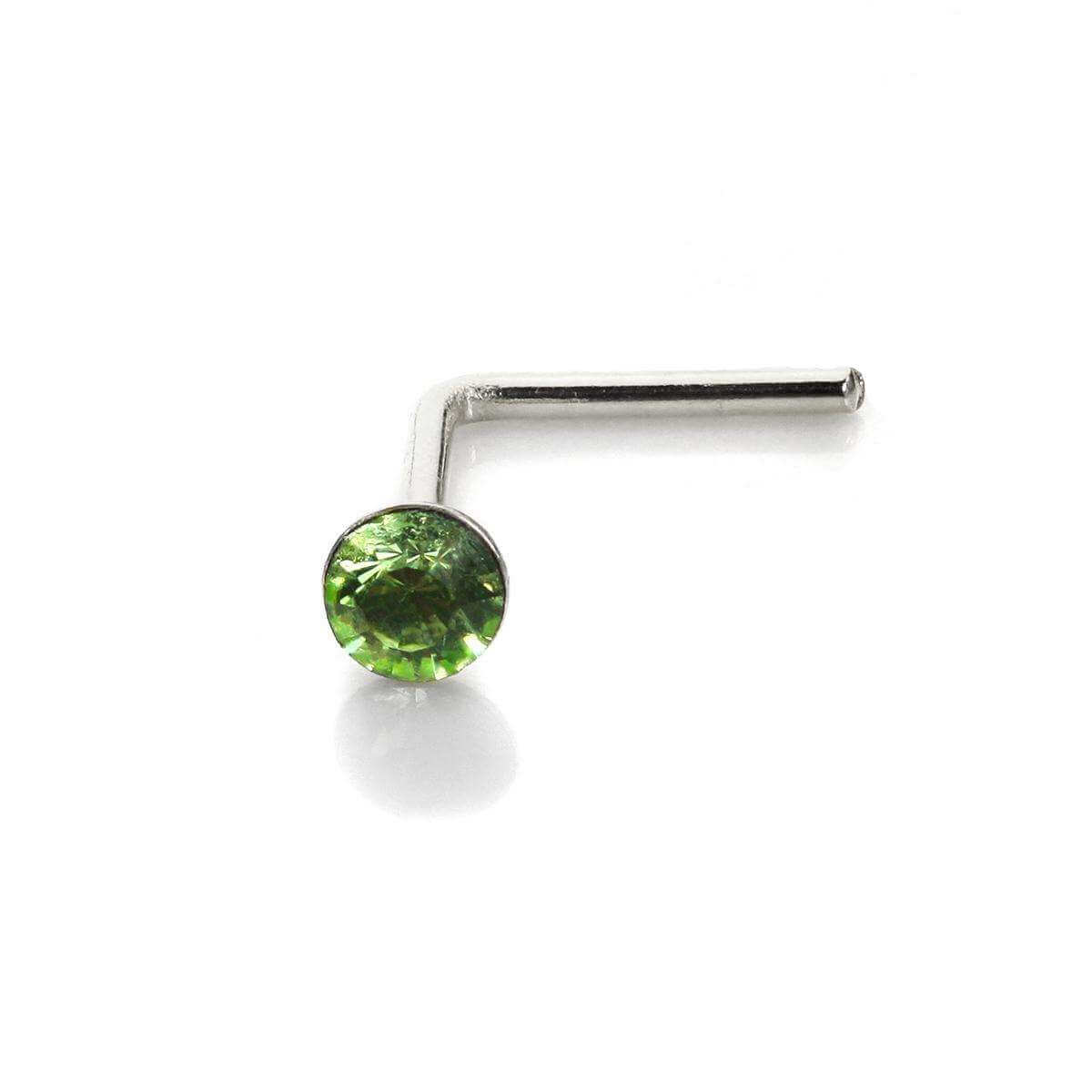 Sterling Silver 2.8mm Round Peridot Crystal Nose Stud L Pin