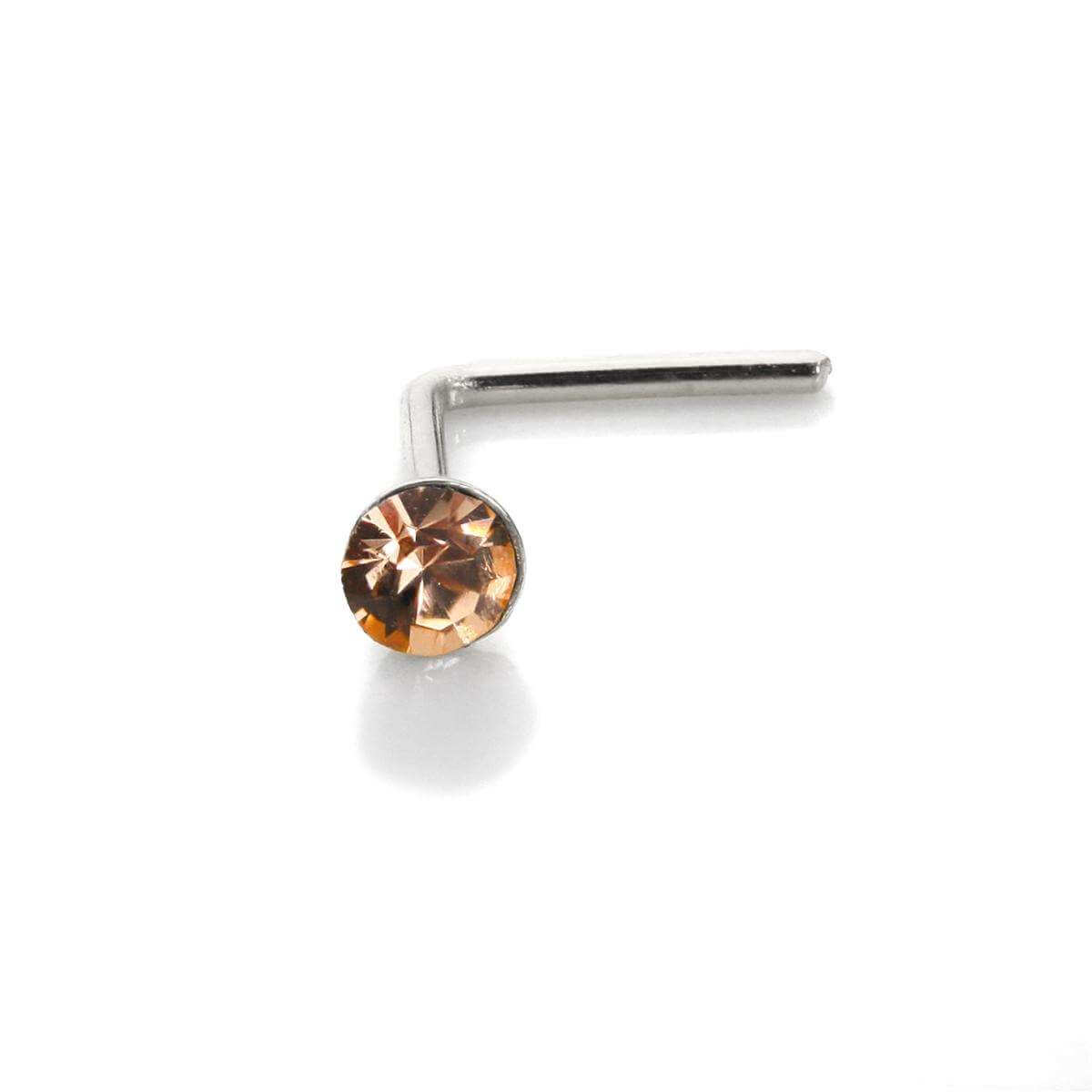 Sterling Silver 2.8mm Round Light Peach Crystal Nose Stud L Pin