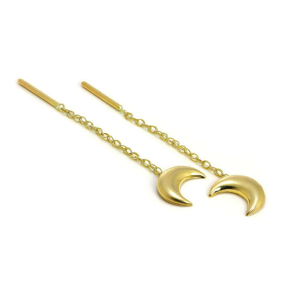 9ct Gold Crescent Moon Pull Through Chain Earrings