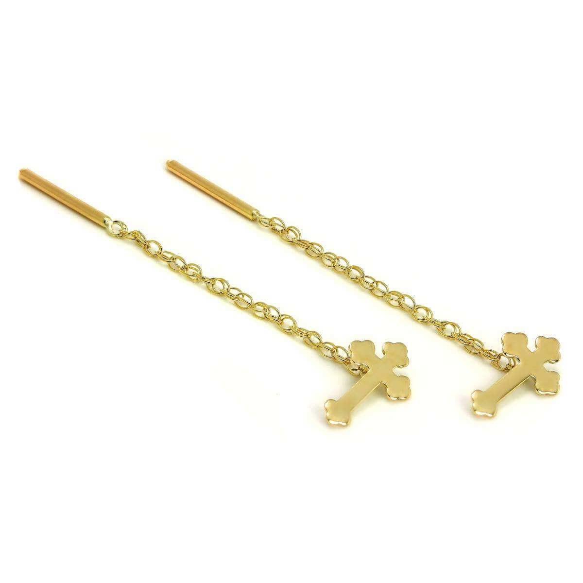 9ct Gold Gothic Cross Pull Through Chain Earrings