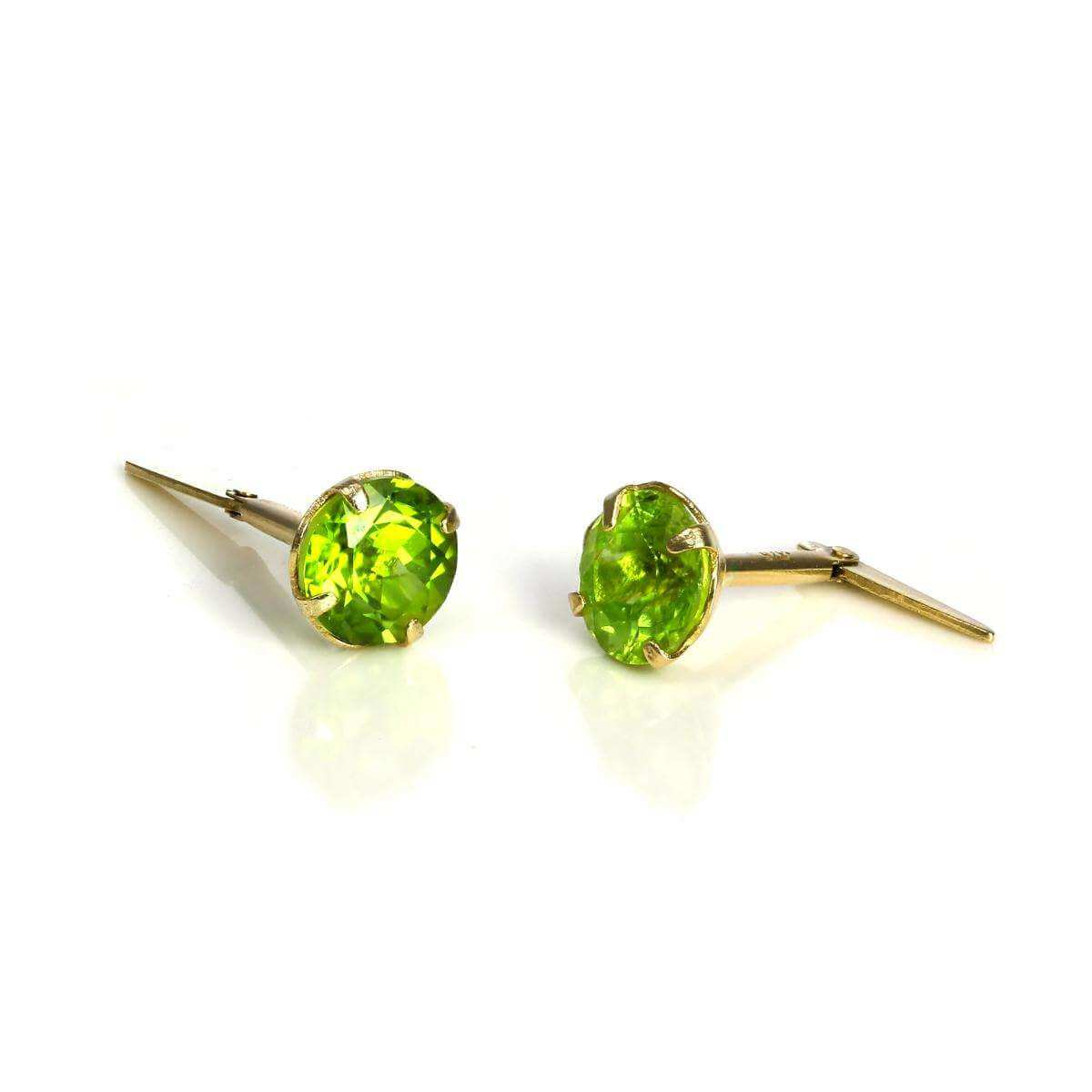 9ct Gold & 5mm Peridot Gemstone Andralok Stud Earrings