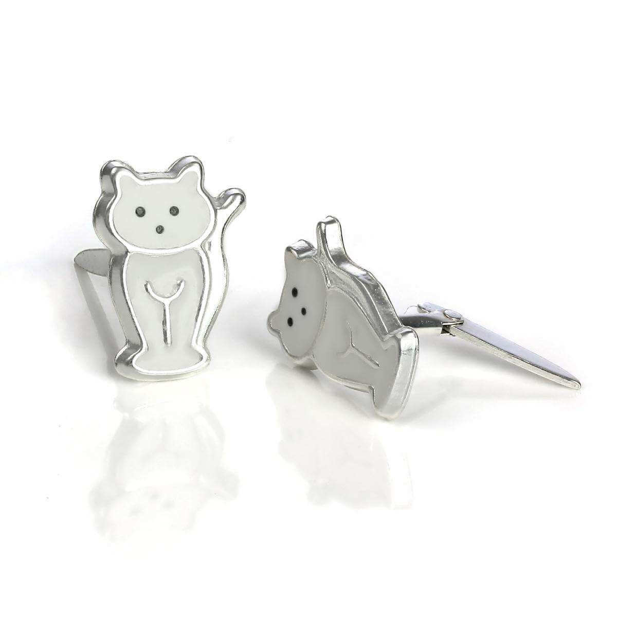Sterling Silver & Enamel Sitting Cat Andralok Stud Earrings