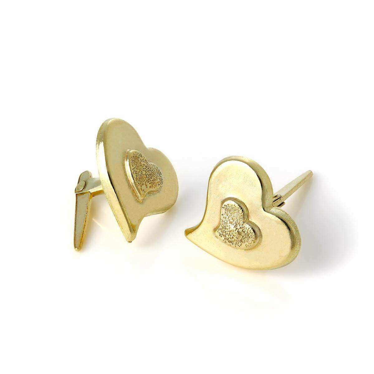 9ct Gold Andralok Double Heart Stud Earrings