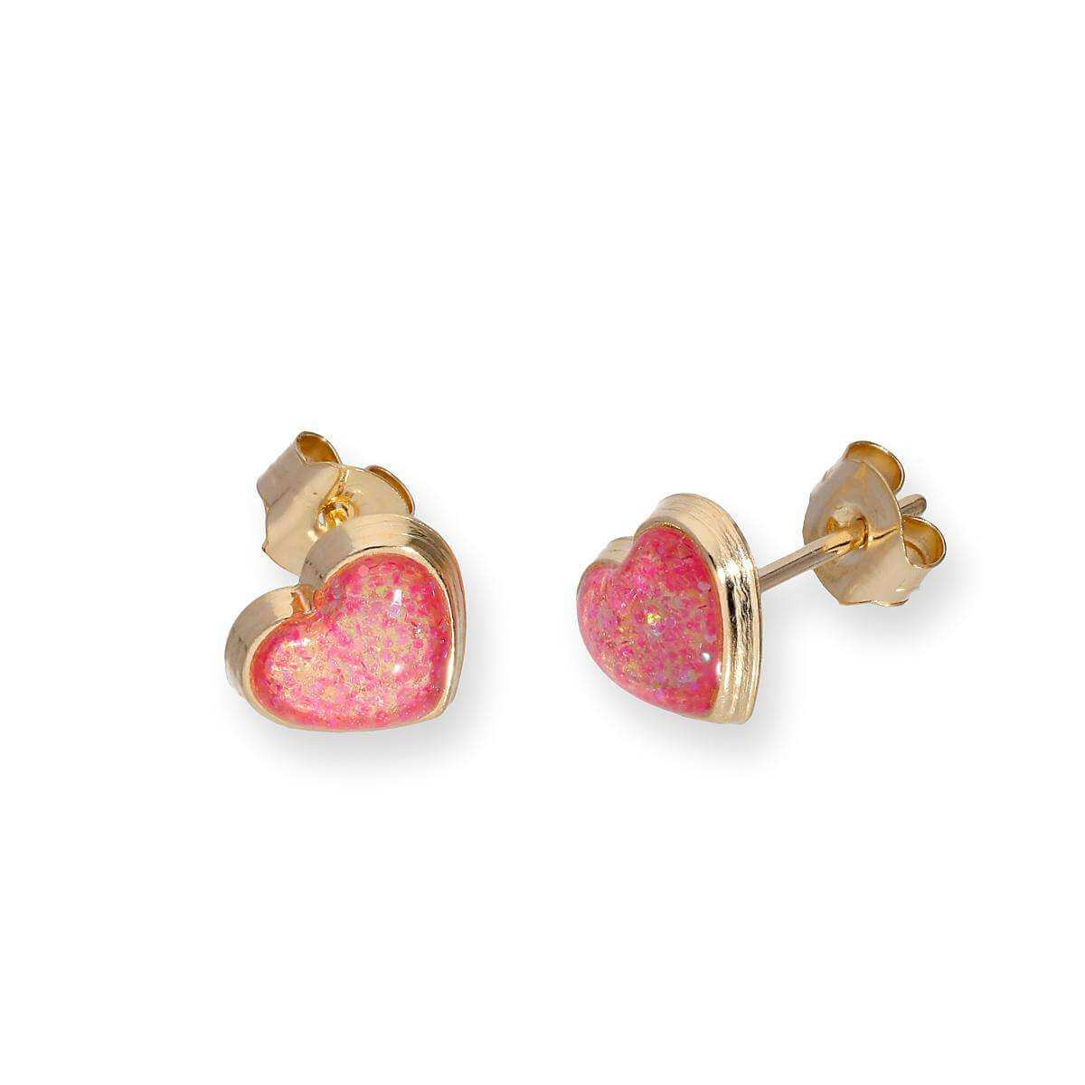 9ct Gold & Pink Glitter Enamel Heart Stud Earrings