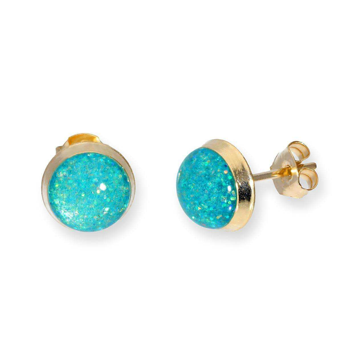 9ct Gold & Turquoise Glitter Enamel Round Stud Earrings