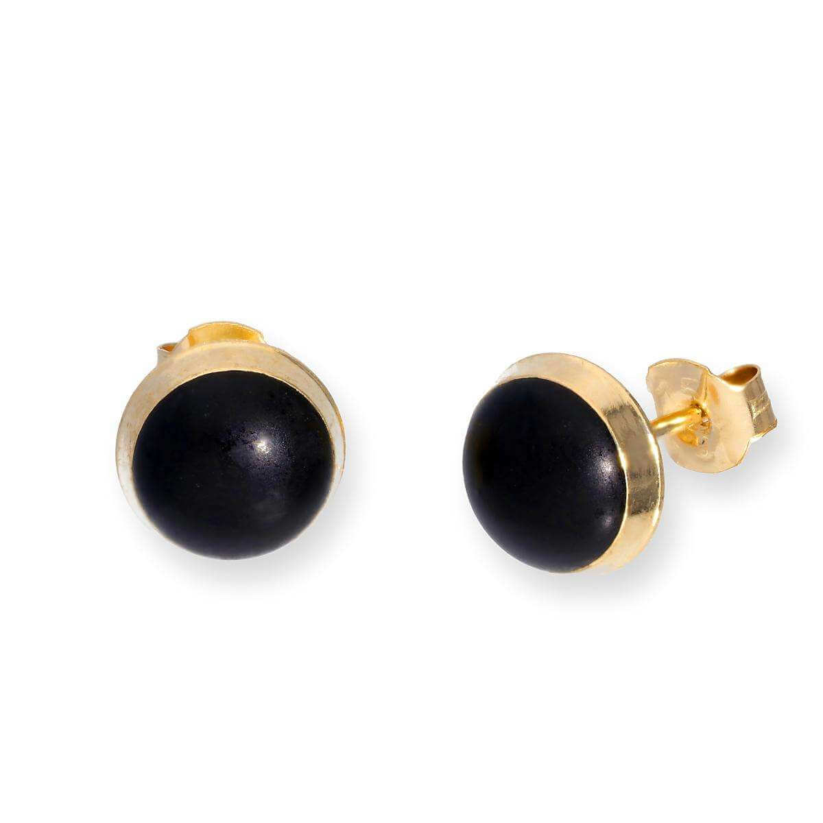 9ct Gold & Black Glitter Enamel Round Stud Earrings