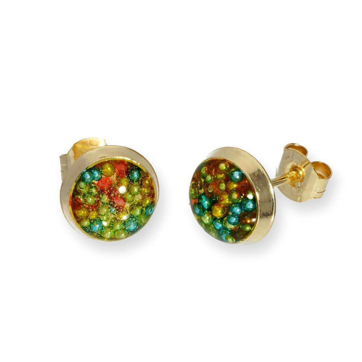9ct Gold & Multicoloured Glitter Enamel Round Stud Earrings