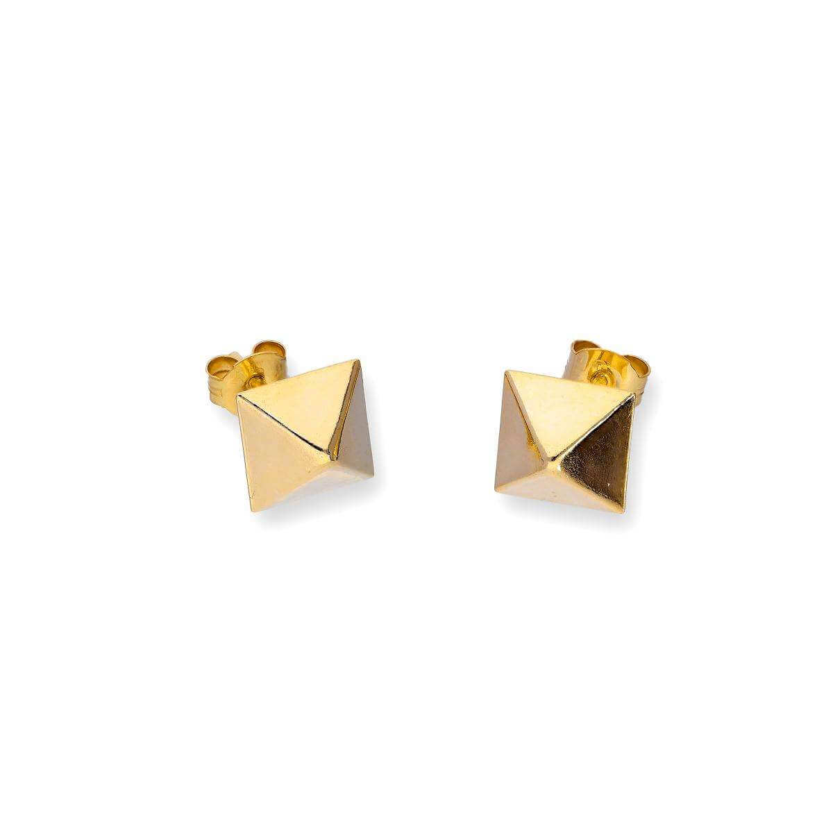 9ct Gold Square Pyramid Stud Earrings