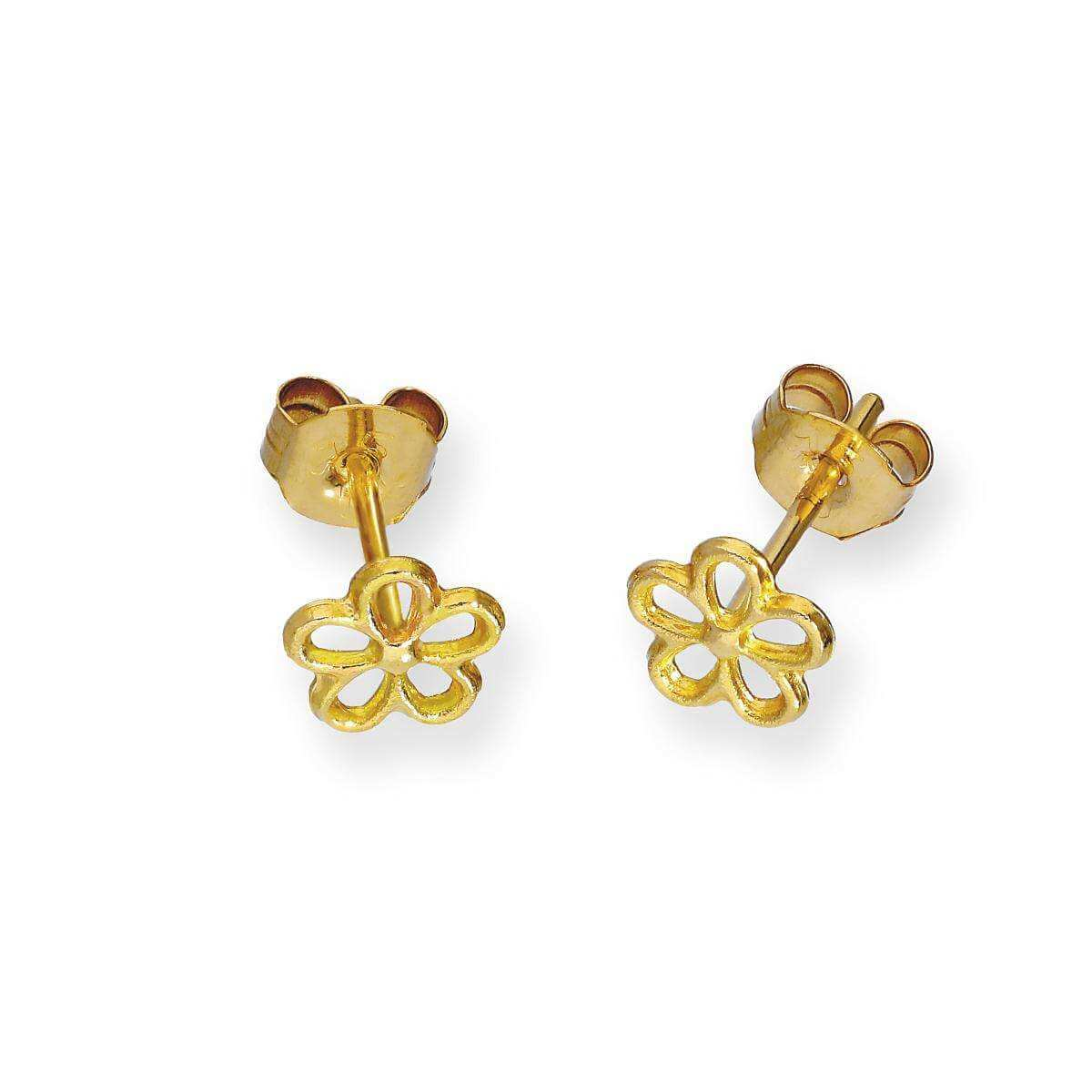 9ct Gold Open Flower Stud Earrings