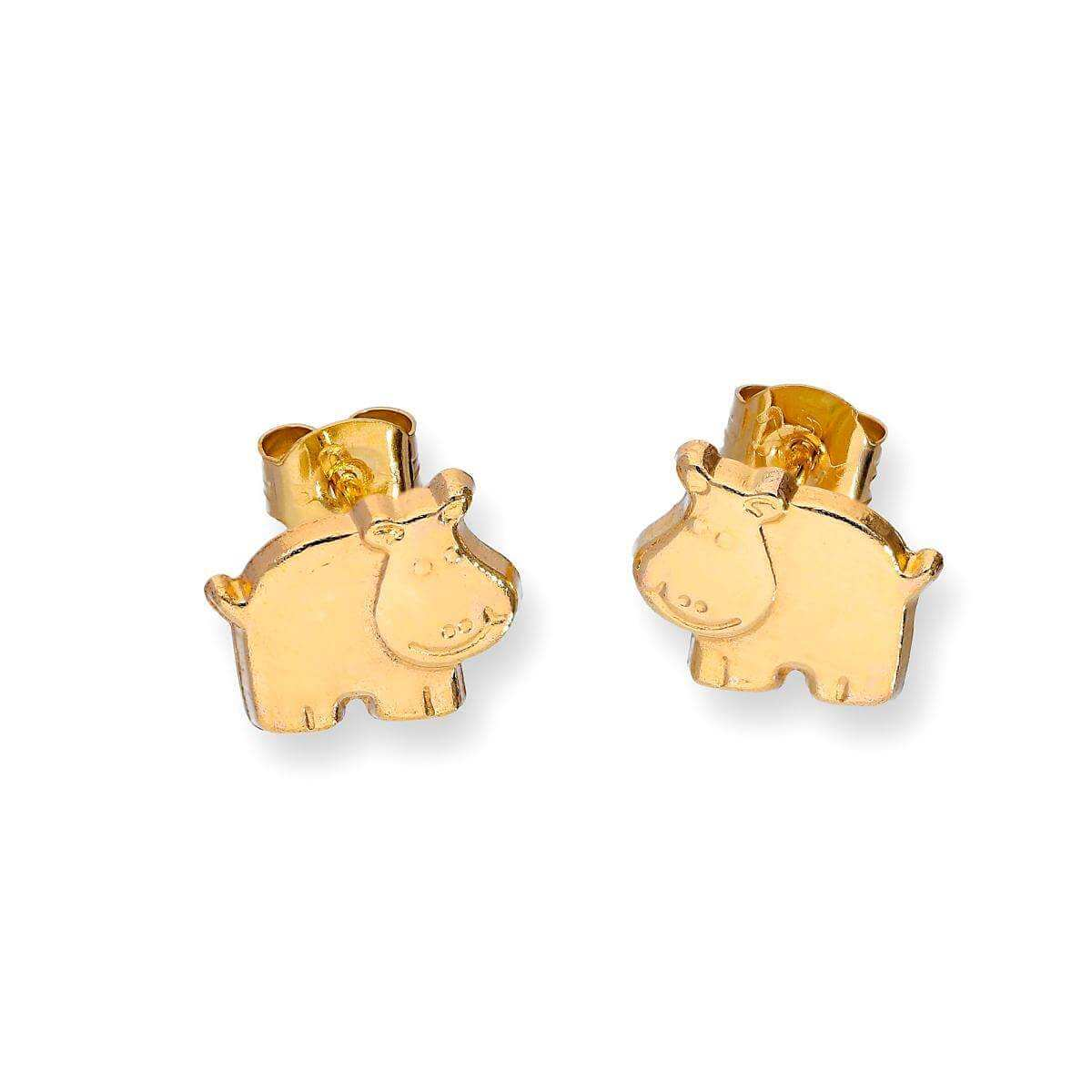 9ct Gold Flat Hippopotamus Stud Earrings