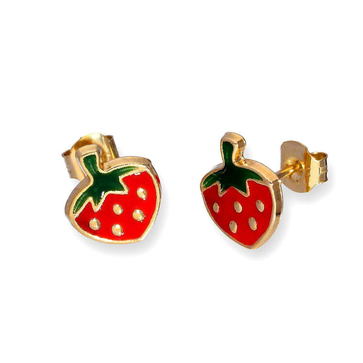 9ct Gold & Enamel Flat Strawberry Stud Earrings