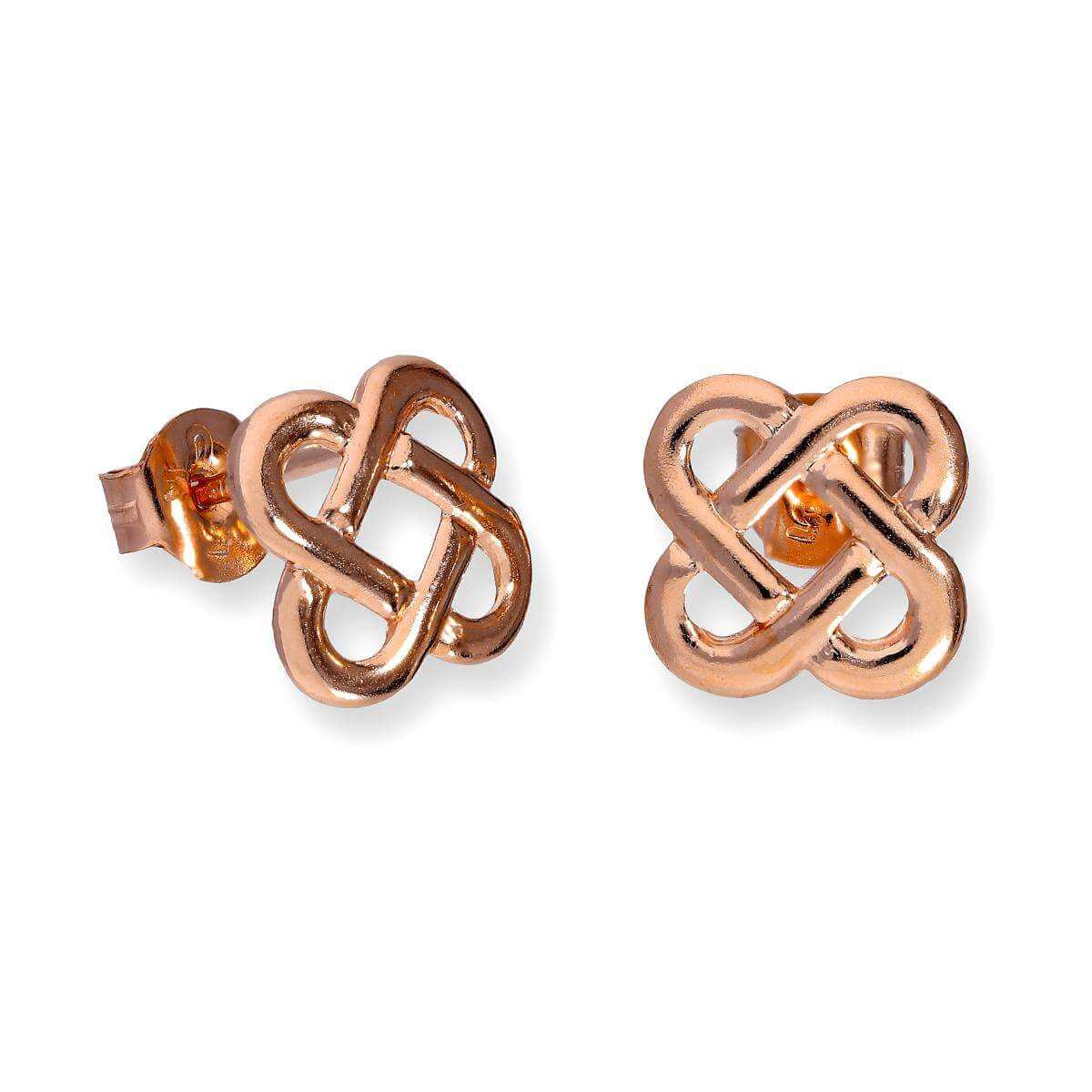 9ct Rose Gold Flat Celtic Knot Stud Earrings