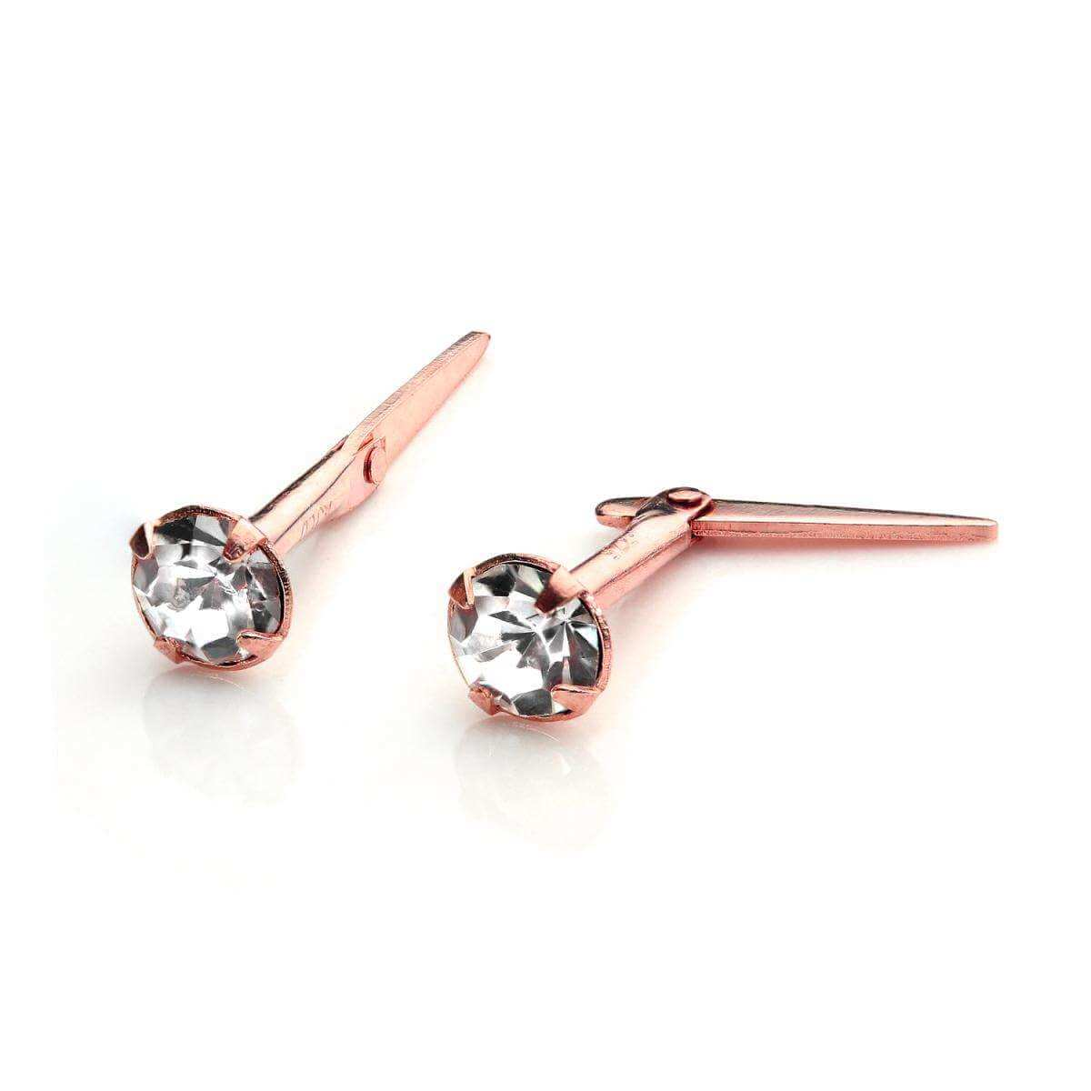 9ct Rose Gold Andralok Stud Earrings with 3mm Clear CZ Crystal