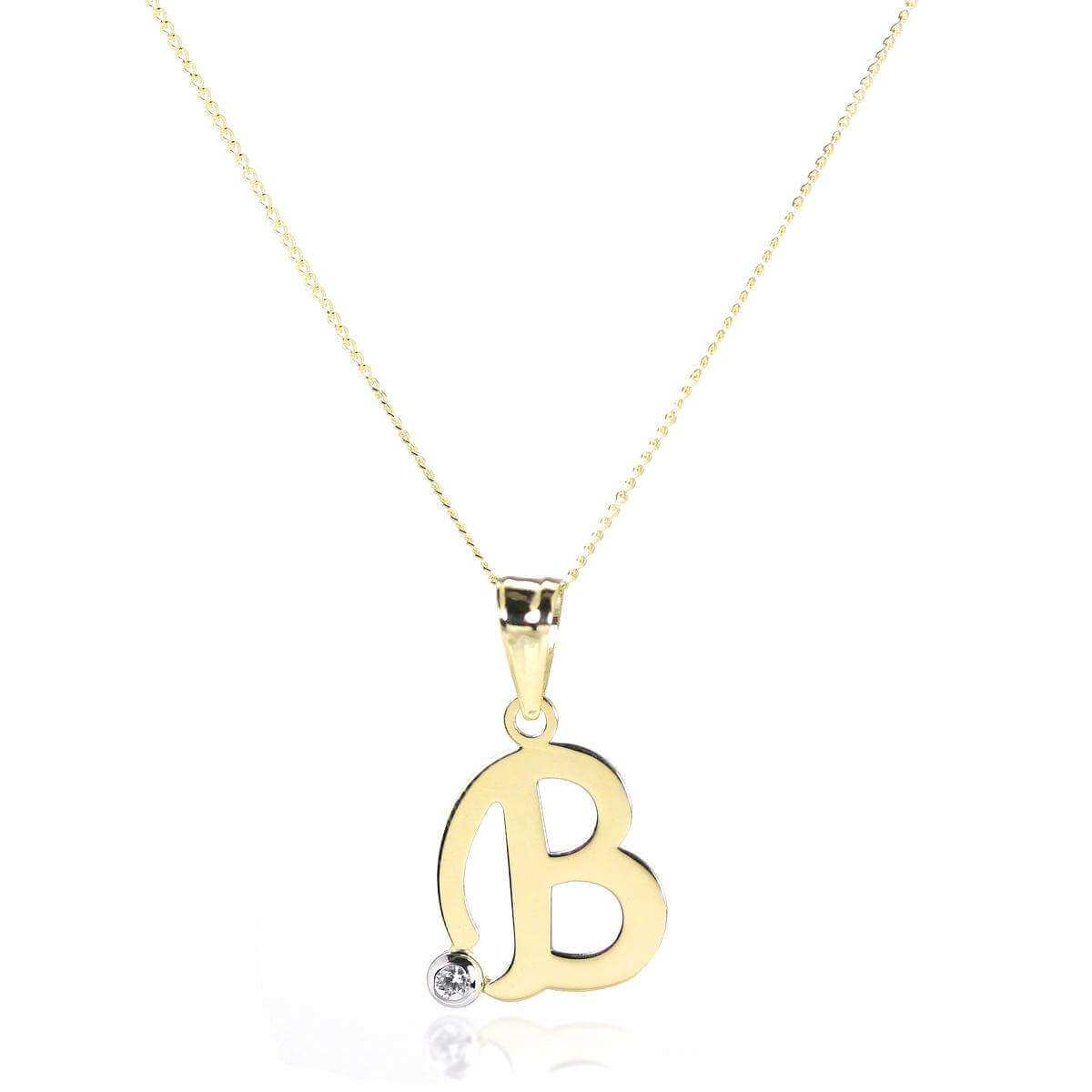 9ct Gold Letter B Pendant with CZ Crystal