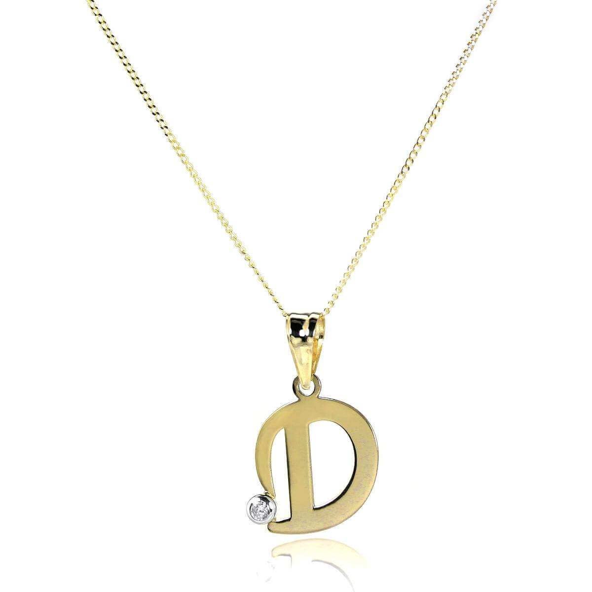 9ct Gold Letter D Pendant with CZ Crystal