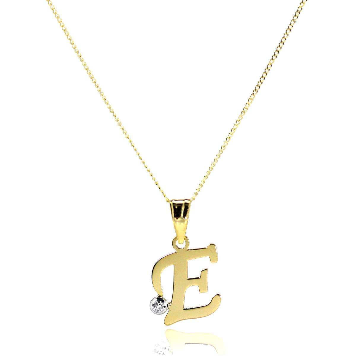 9ct Gold Letter E Pendant with CZ Crystal