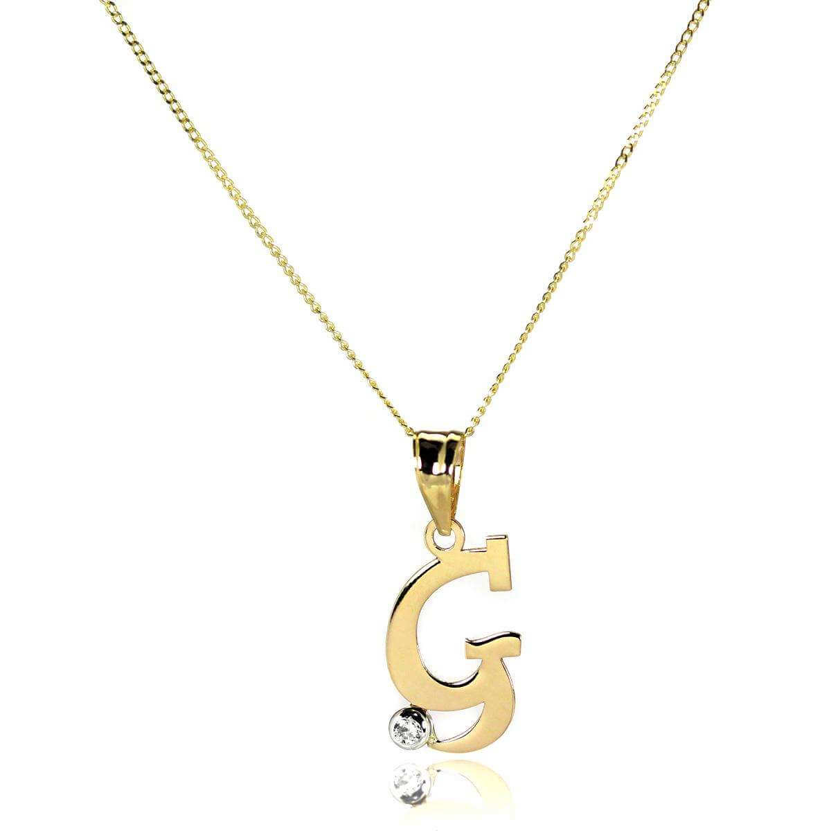 9ct Gold Letter G Pendant with CZ Crystal