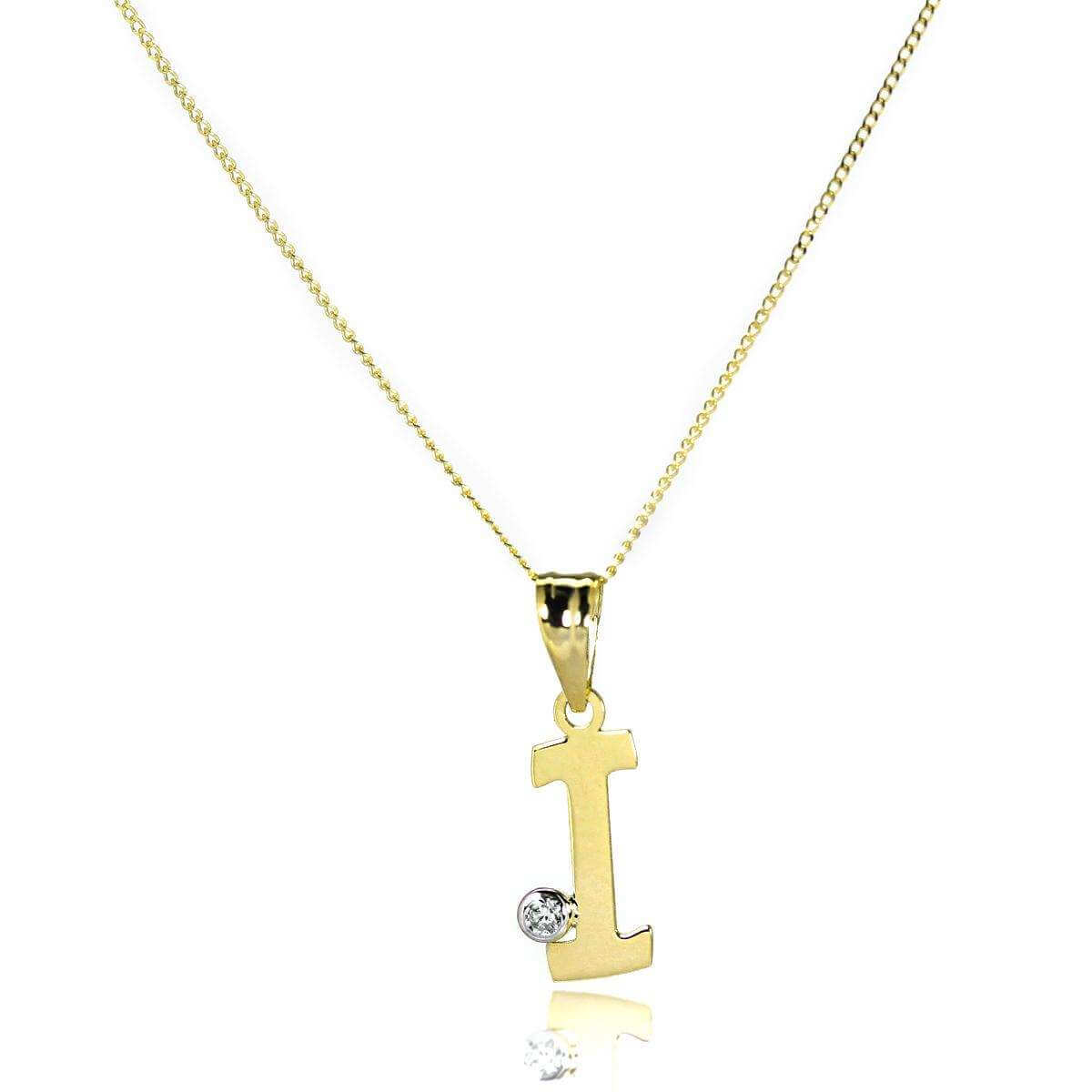 9ct Gold Letter I Pendant with CZ Crystal