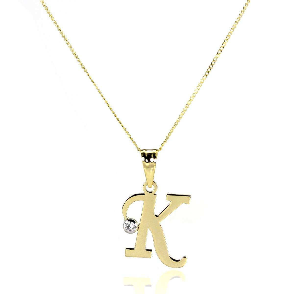 9ct Gold Letter K Pendant with CZ Crystal