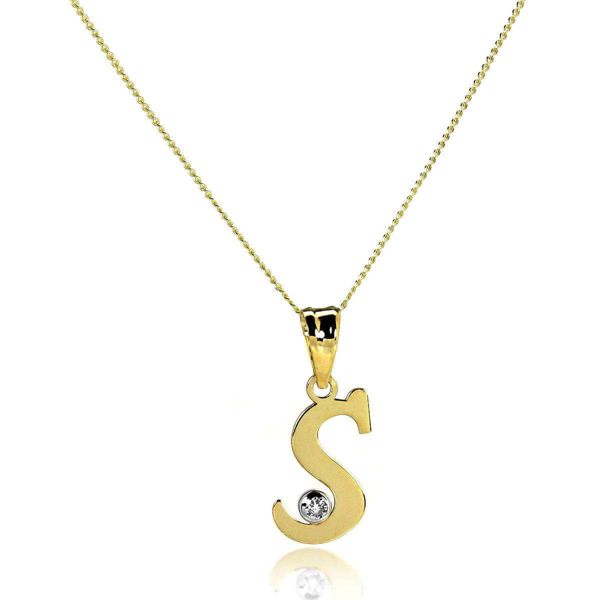 9ct Gold Letter S Pendant with CZ Crystal