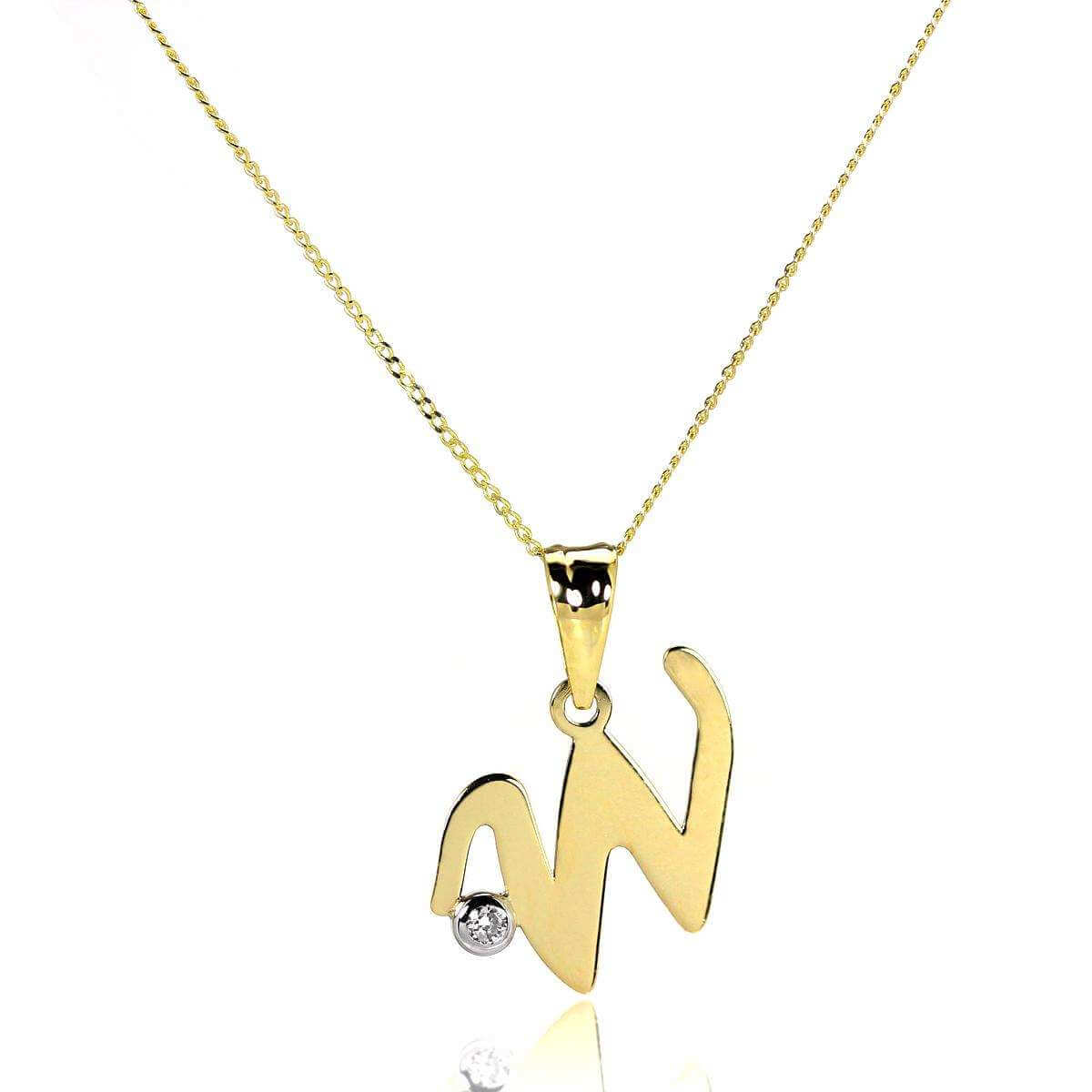 9ct Gold Letter W Pendant with CZ Crystal