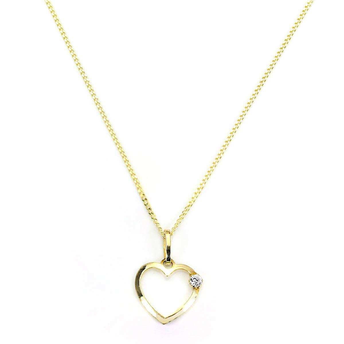 9ct Gold Light Open Heart with CZ Crystal Pendant