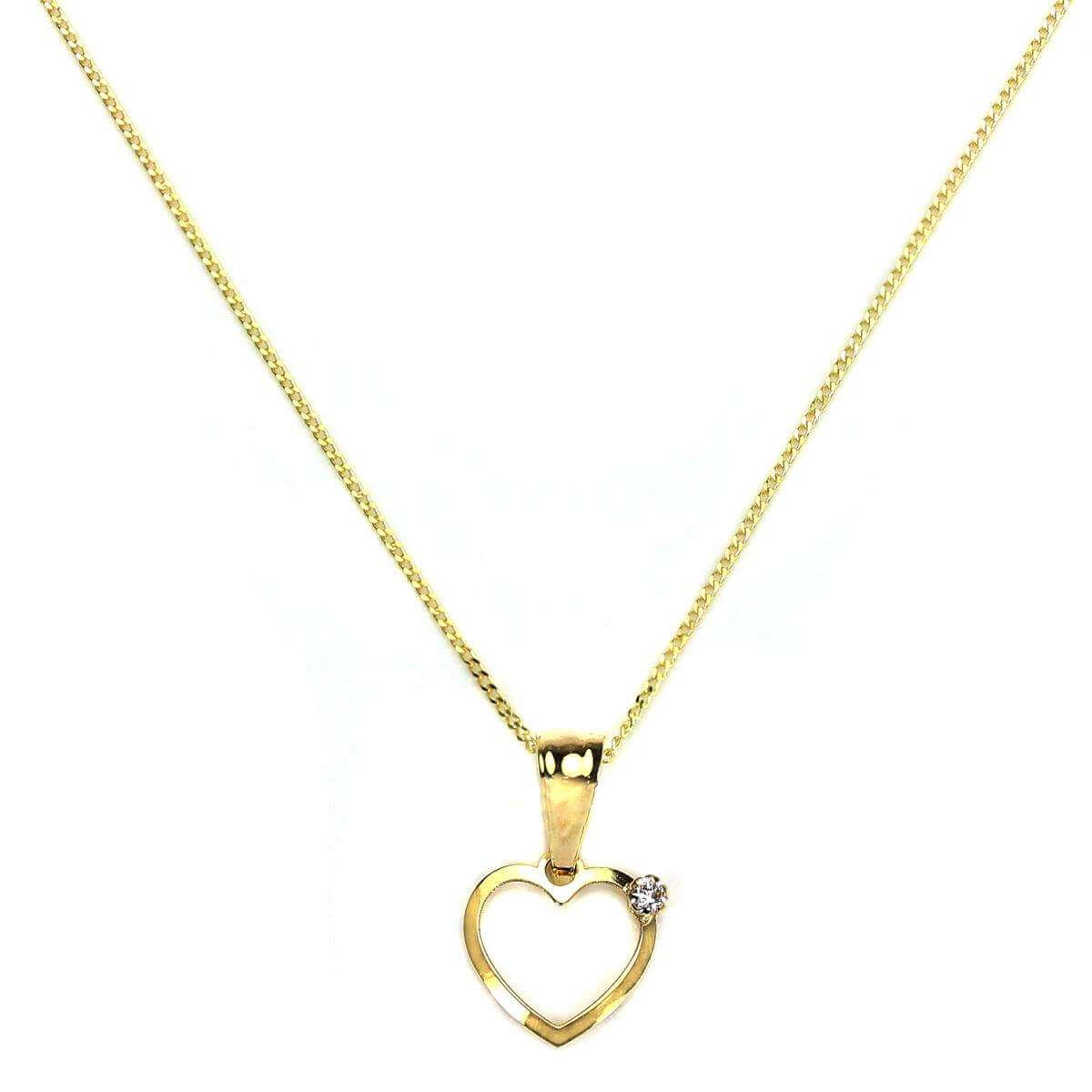 9ct Gold Light Open Heart with Diamond Pendant