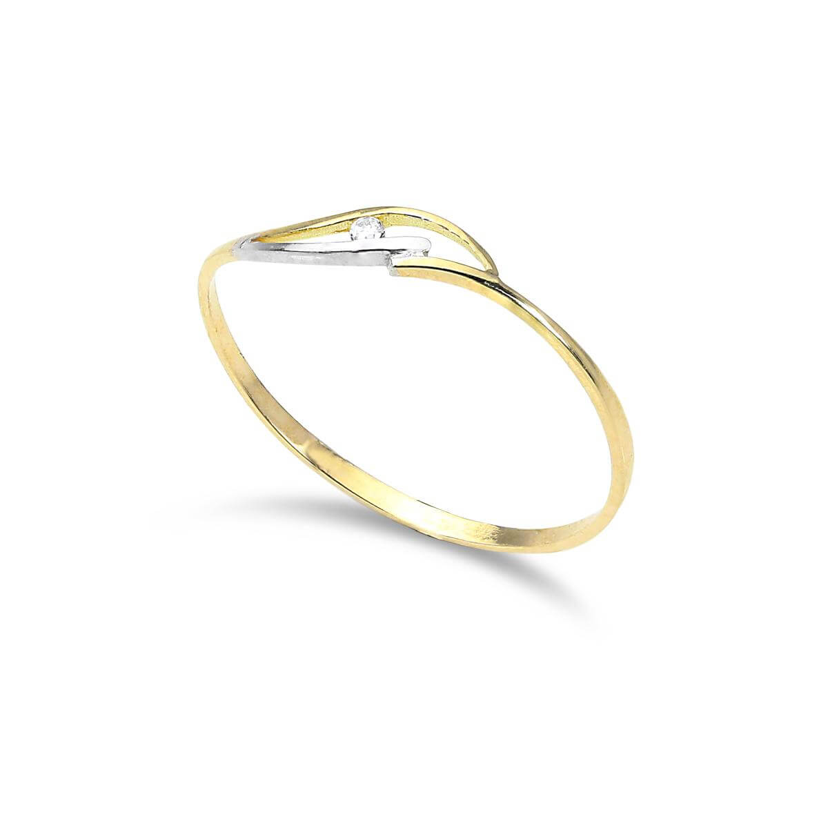 9ct Yellow & White Gold Wave 1mm Stacking Ring with CZ Crystal