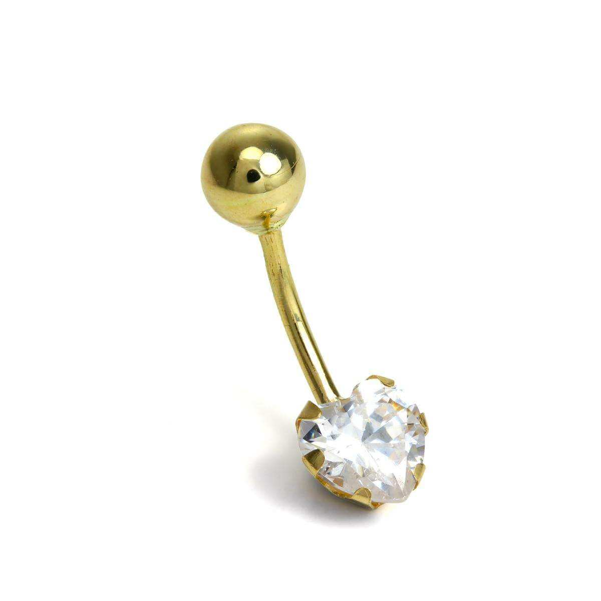 9ct Gold Belly Bar Piercing with Clear CZ Crystal Heart