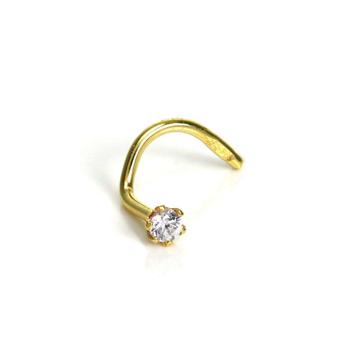9ct Gold Nose Screw with 2mm Round Clear CZ Crystal