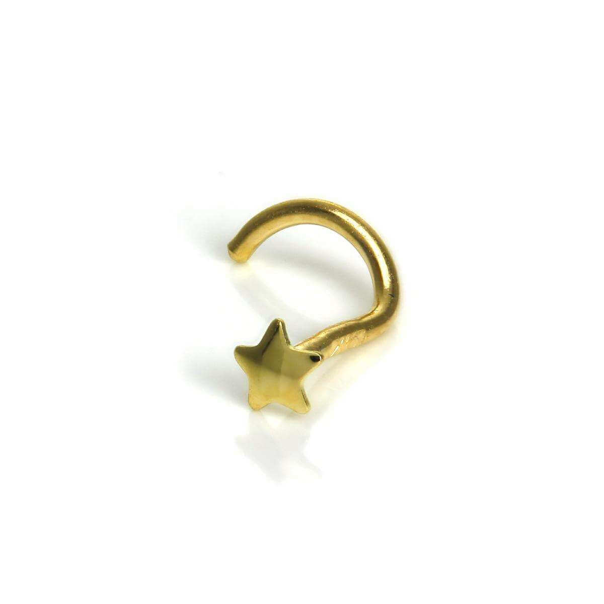 9ct Gold Star Nose Screw Piercing