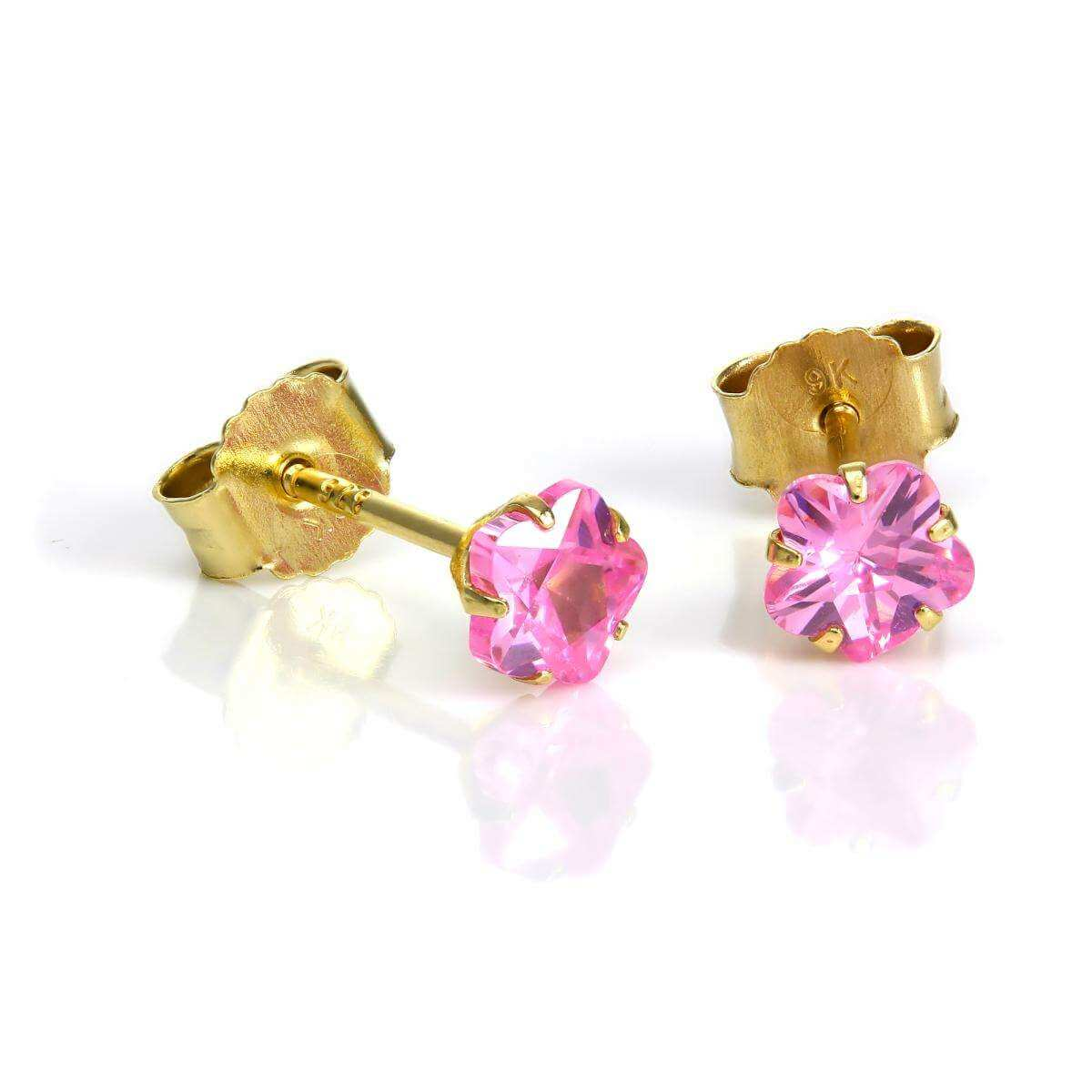 9ct Gold & 4mm Pink CZ Crystal Flower Stud Earrings