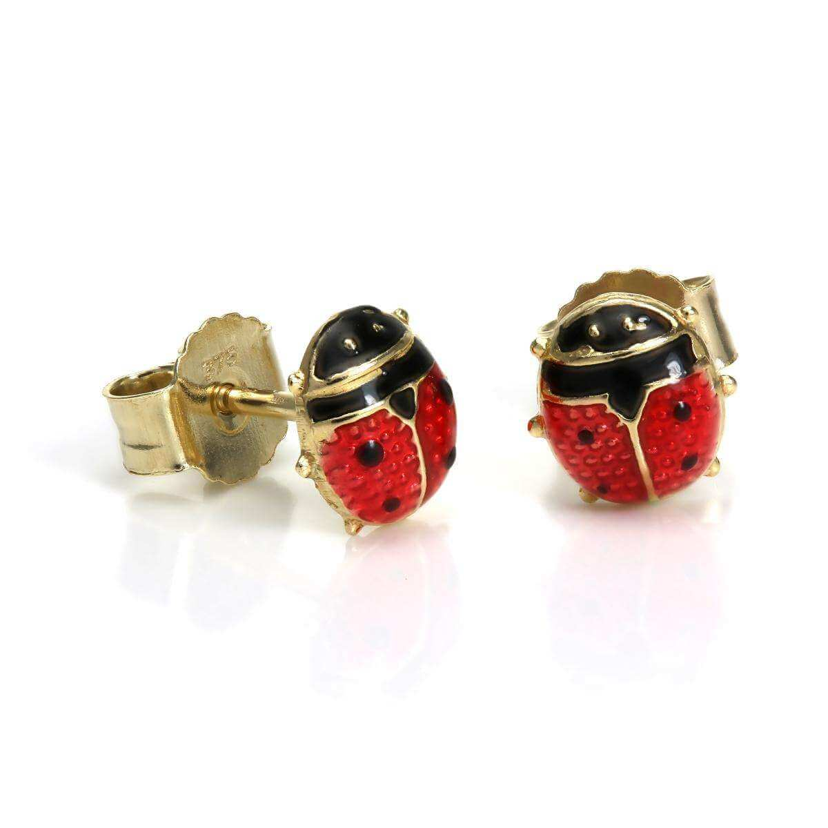 Tiny 9ct Gold & Enamel Small Ladybird Stud Earrings