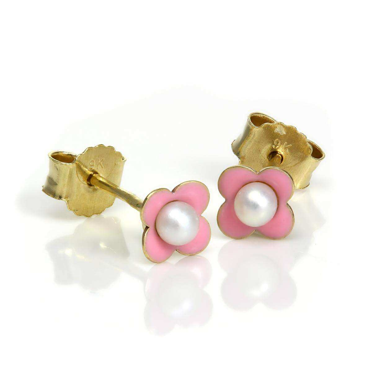 9ct Gold & Pink Enamel Pearl Flower Stud Earrings